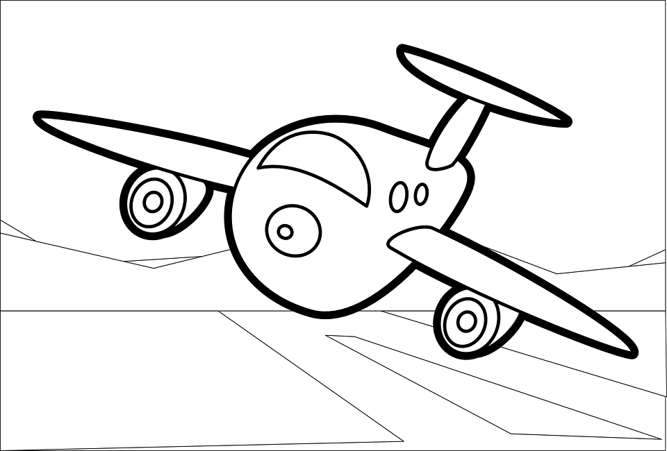 Plane cartoon line art colouring book children book