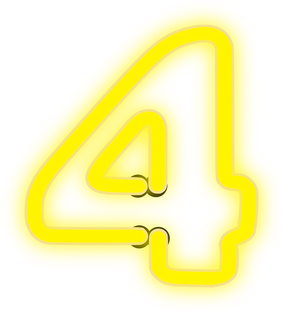 free vector graphic neon 4 lights number yellow free image