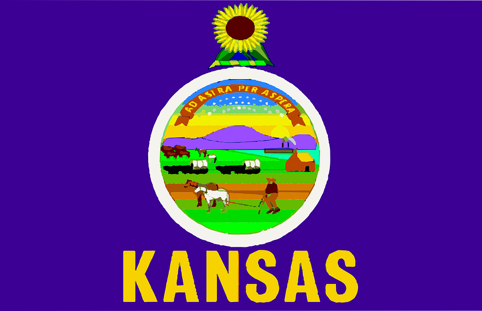 Flag, Kansas, State, Usa, America, United, States