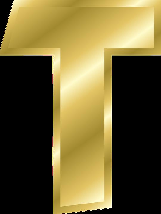 Letter, T, Capital Letter, Alphabet, Abc, Gold