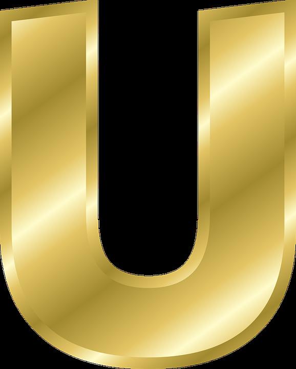 U & Us Home Design Studio Part - 50: Letter U Capital Letter Alphabet Abc Gold