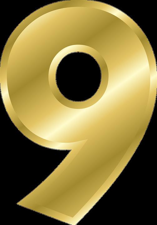 Número, 9, Alfabeto, Abc, Oro, Degradado