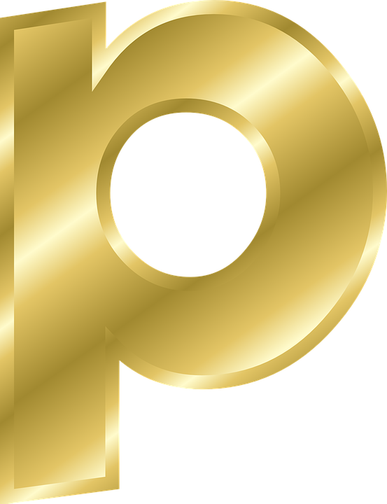 Letter P Lowercase Alphabet Abc Gold Gradient