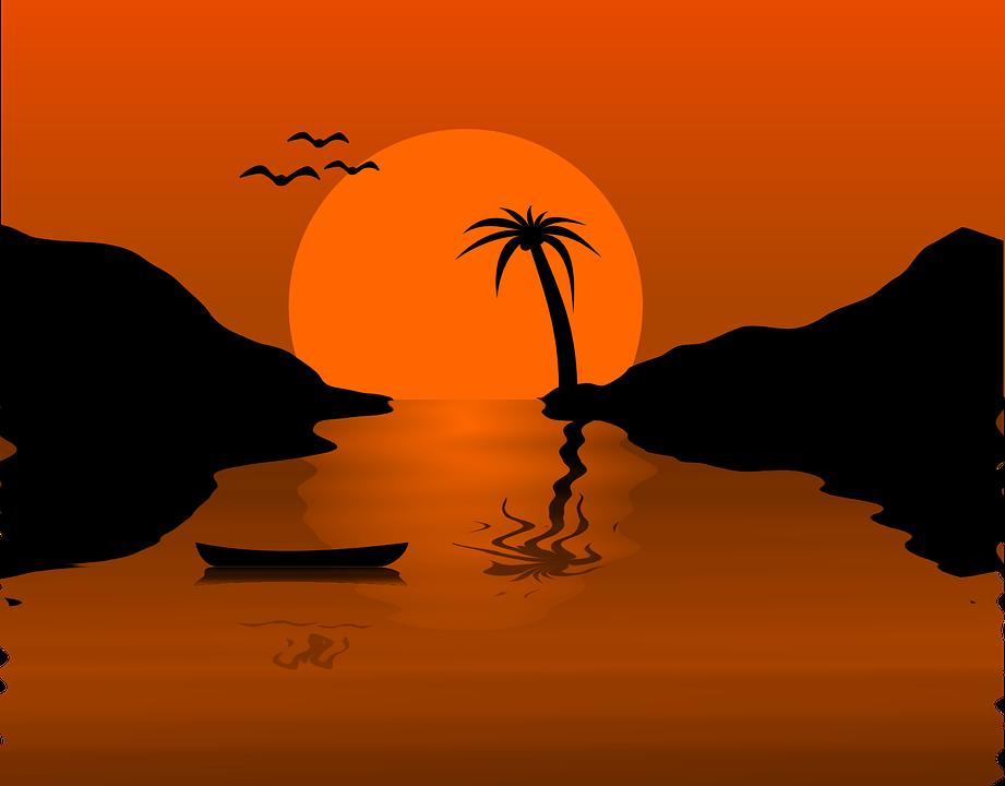850+ lukisan pemandangan pantai di waktu senja Terbaru