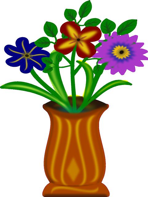 Цветы в вазе нарисованные картинки для детей