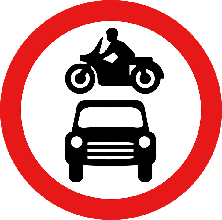 Ban On Driving Motorcycle Car Road · Free Vector Graphic