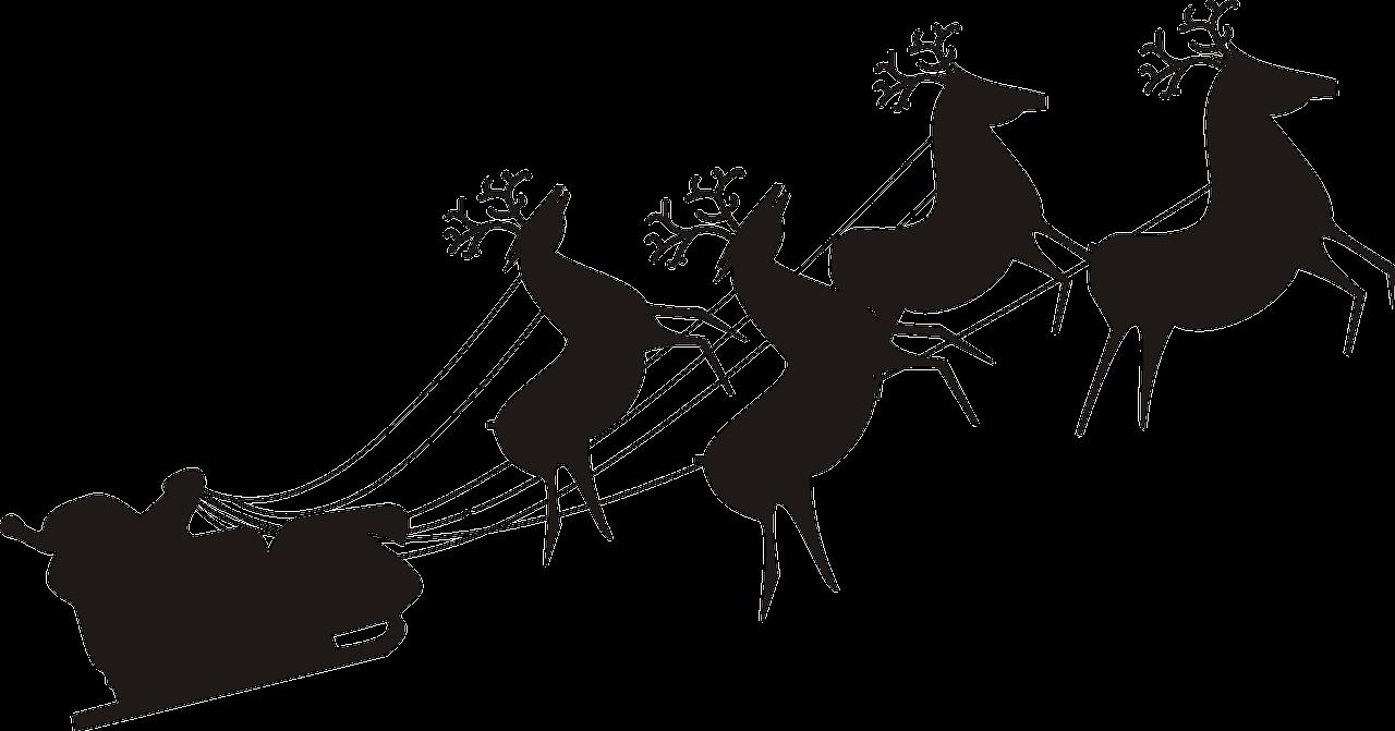 Santa claus and reindeer silhouette