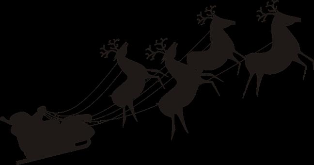 Santa Claus, Reindeer, Christmas, Sled