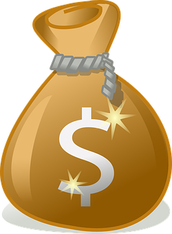 Drawing of a brownish bag tied at the mouth with a dollar sign on it