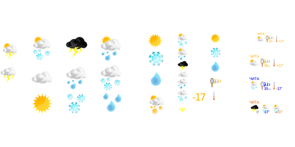 Weather Forecast Symbols Free Vector Graphic On Pixabay