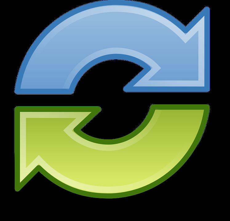 同期, 矢印, サイクル, リサイクル, ラウンド, 青, 緑, 更新