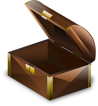 Chest, Brown, Wooden, Box, Glossy