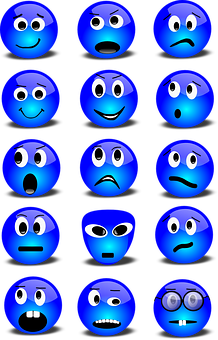 Emoticons, Smilies, Set, Smiley, Blue