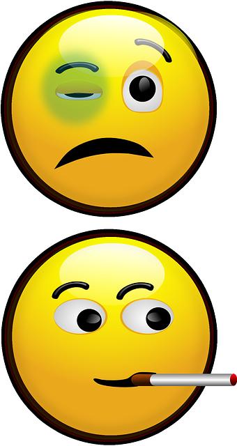 Image vectorielle gratuite smiley oeil au beurre noir - Smiley noir et blanc ...
