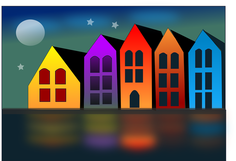 Alojamiento, Casas, Hotel, Casa, Noche, Paisaje, Luna