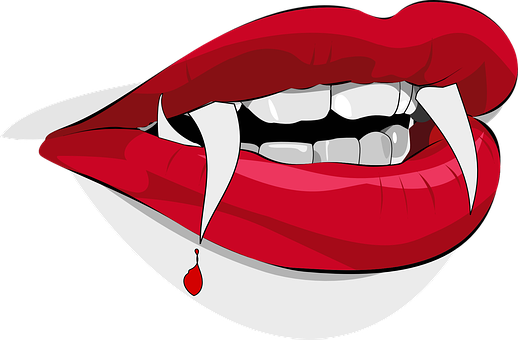 Dracula Fangs Vampire Blood Drop Lips Hall
