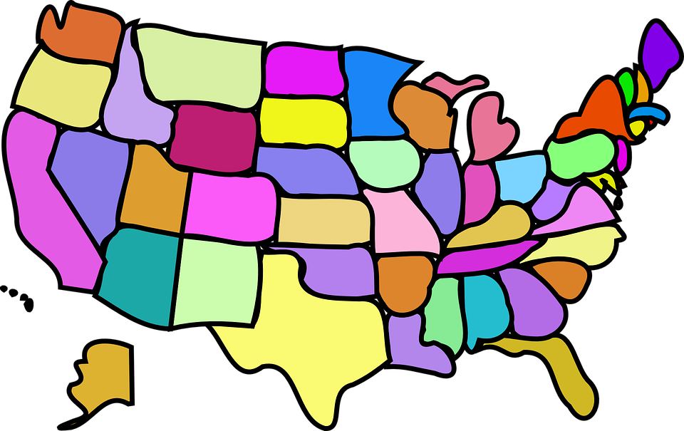 Free Vector Graphic United States States Usa America Free - States of the usa map