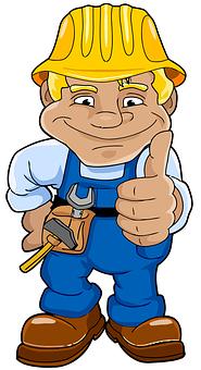 便利屋, 職人, 手動職人, 修理, ヘルメット, 青, 男, にこやか