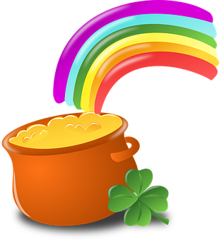 Luck, Rainbow, Gold, Pot