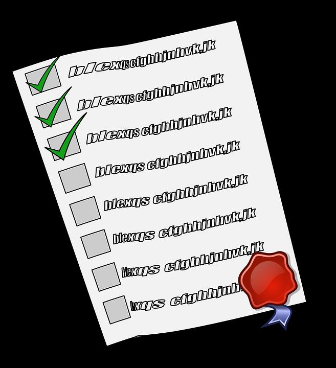 Daftar Periksa Cek Memeriksa Oke Disegel Dokumen  C B Public Domain