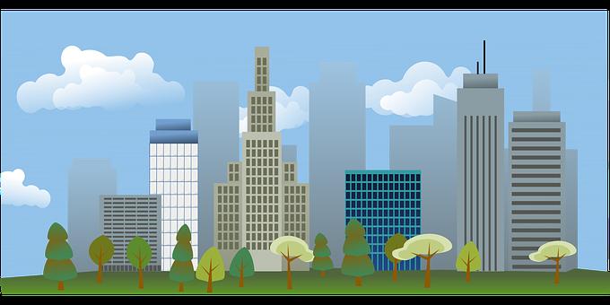 超高層ビル, 建物, 市, スカイライン, 都市の景観, 木, 公園, 空, 雲