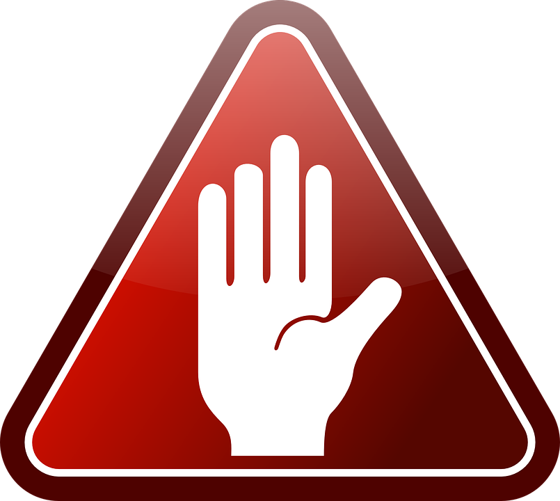 free vector graphic glossy hand red stop triangle