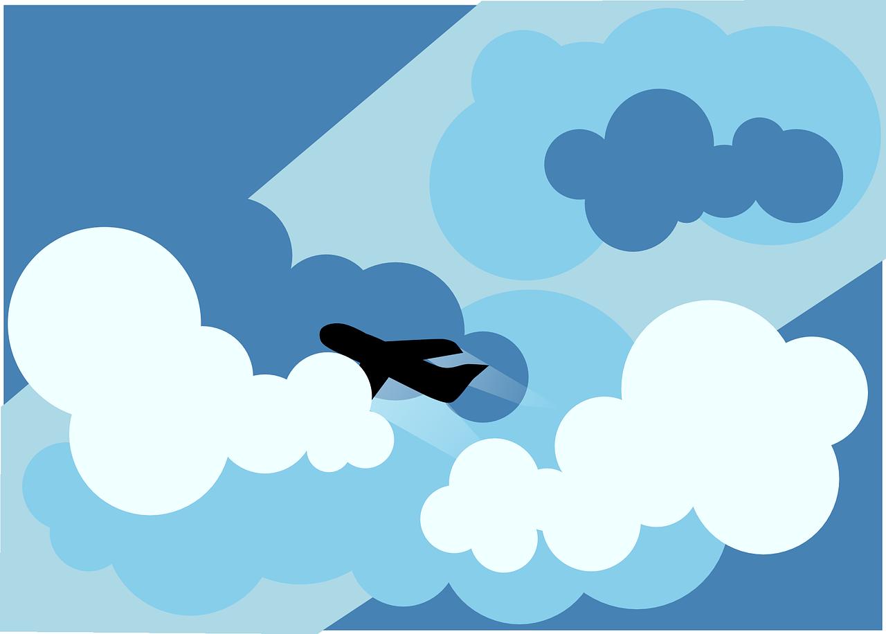 Произвольную открытку, картинки для детей самолеты летят сквозь облака