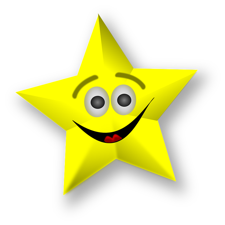Estrellas, Feliz, Smiley, Emoticon, Caritas, Amarillo