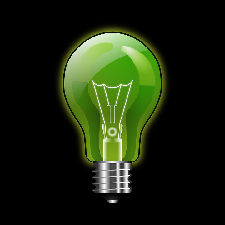 Glow Green Light Bulb Electric Energy