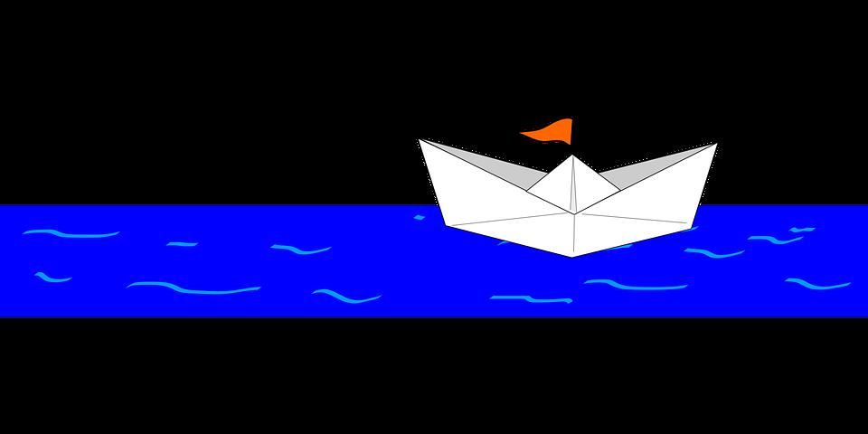 ボート, 紙, 2 つ折り, 船, 水, 紙の船