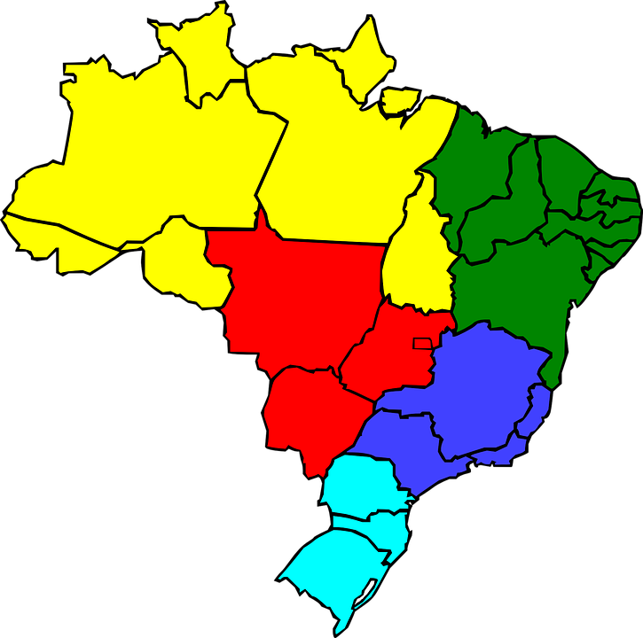 brazil geography map region states color country