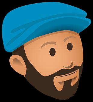 Face, Full Beard, Man, Cap, Hat, Blue