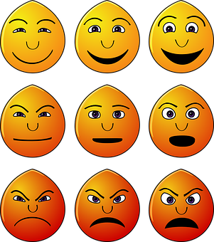 Emoticons, Emotionen, Smiles, Gesichter