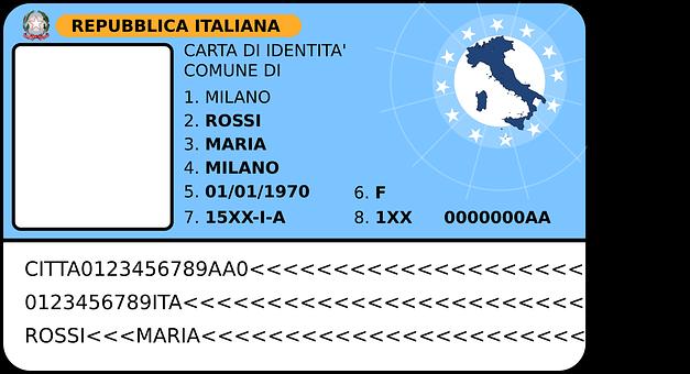 Id, パスポート, イタリア, カード