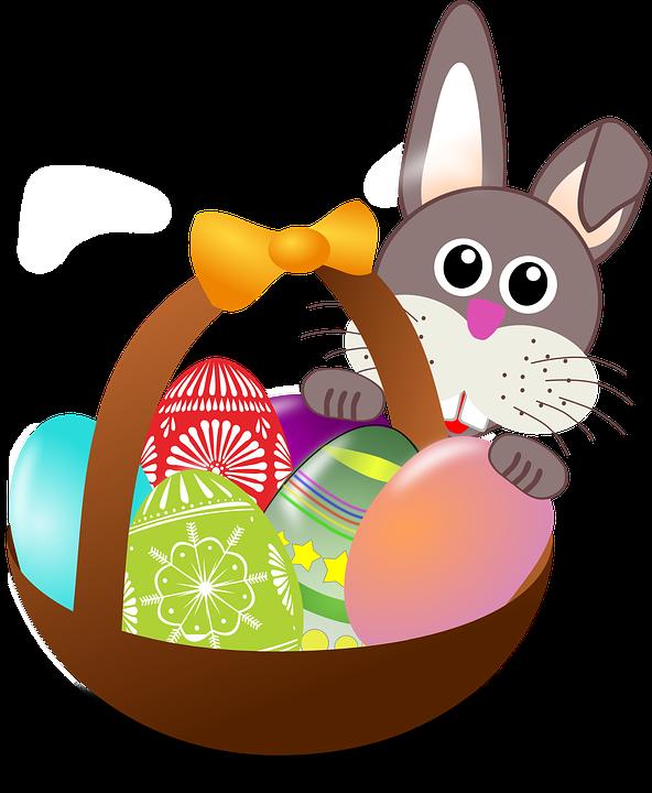 Easter Bunny Eggs Nest Basket