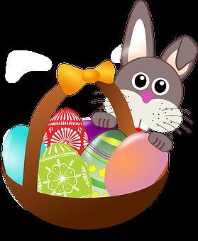 Wielkanoc, Królik, Jaj, Gniazdo, Koszyk