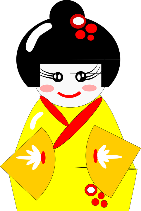 Kimono Japanese Clothing Robe Yellow Woman Girl