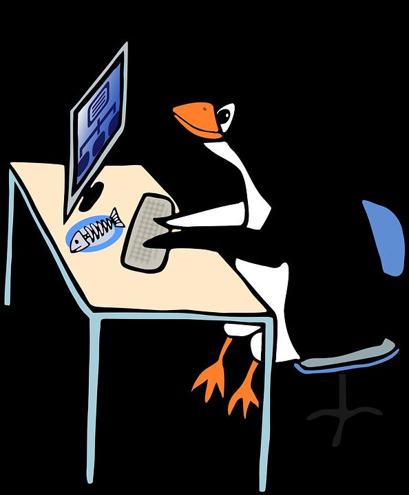 Linux, タキシード, 管理者, 動物, 鳥, コンピュータ, デスク, 仕事