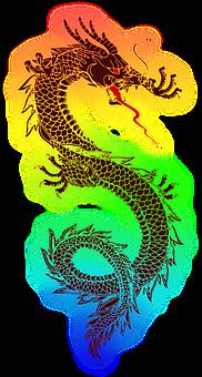 Dragon, Tatuaje, Chino, Colorido