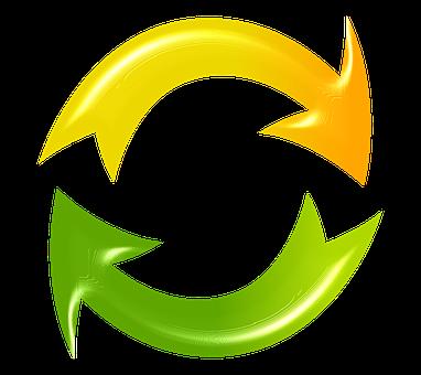 更新, 再読み込み, サイクル, 矢印, 緑, 黄色, リサイクル, サイクル