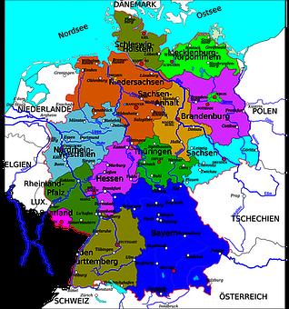 ドイツ, 状態, 地図, 国, ヨーロッパ