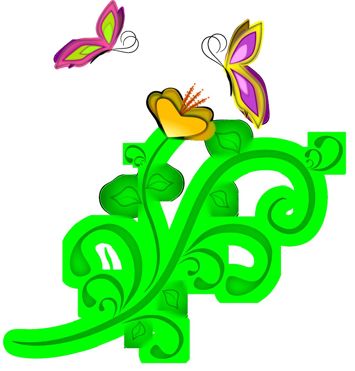 Векторные картинки цветы и бабочки