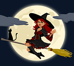 witch, witchcraft, broomstick