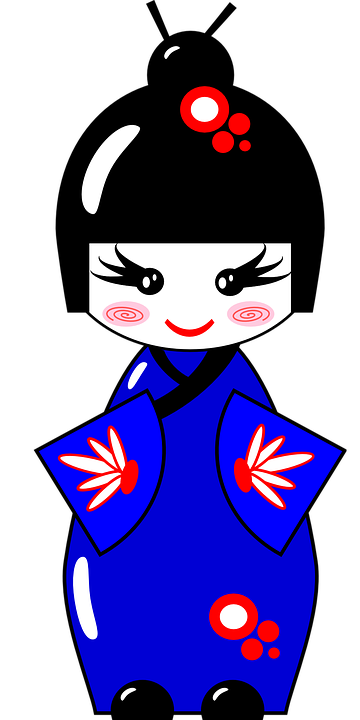 Free Vector Graphic Kimono Doll Japanese Asian Blue