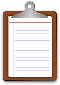 Clipboard Paper Lined Ruled Blank