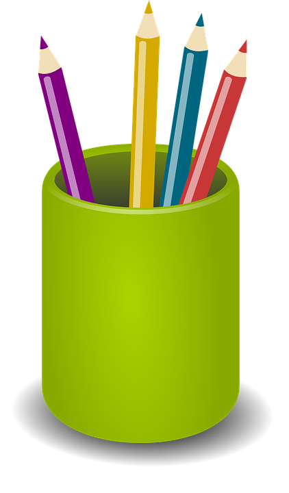 Długopisy, Ołówki, Kredki, Zielony, Posiadacz, Urząd