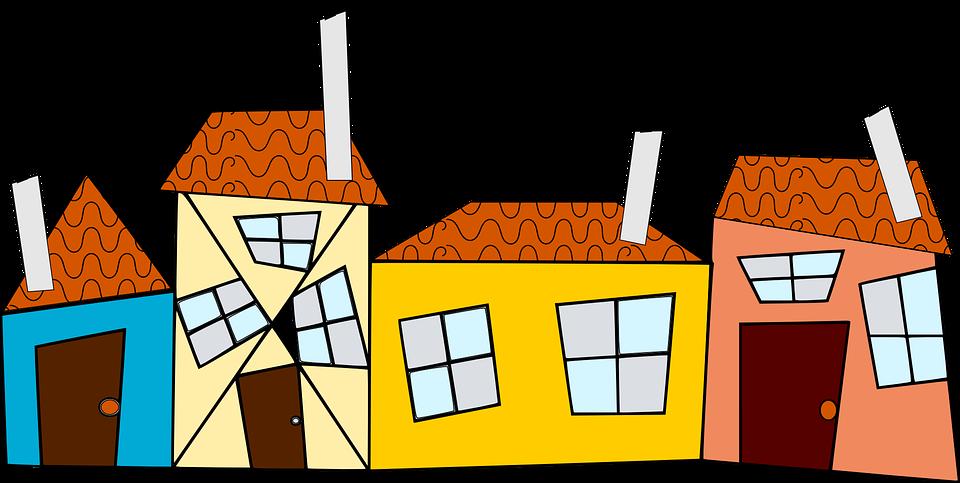 近所の人, 近所, 道路, レーン, 煙突, 住宅, 屋根, 建物, 長屋, シリアルの家, 住宅街