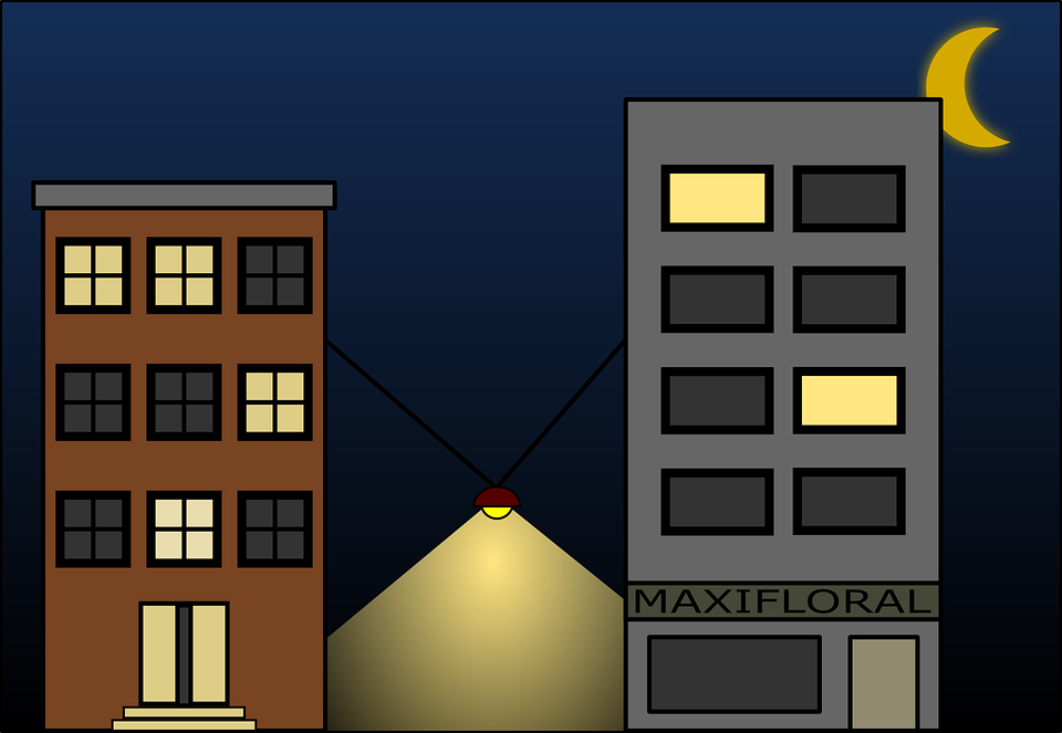 Free Vector Graphic Buildings Lights Night Street