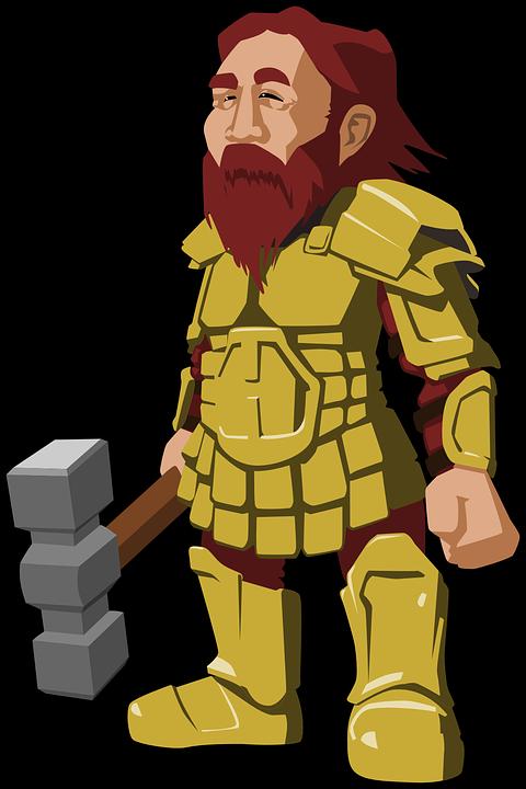 Dwarf, Viking, Armor, Beard, Fantasy, Hammer, Rpg
