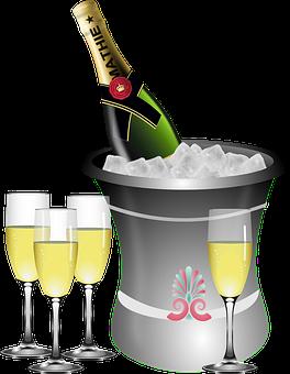 Jahrestag, Sekt, Flasche, Eimer, Feier
